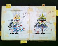french artist, jean-paul go de's sketchbook illustrating of some of his costume designs