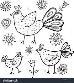 Black and white bird land. Hand drawn illustration.