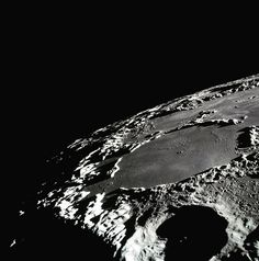 Edited Apollo 15 image of a large crater on the Moon.