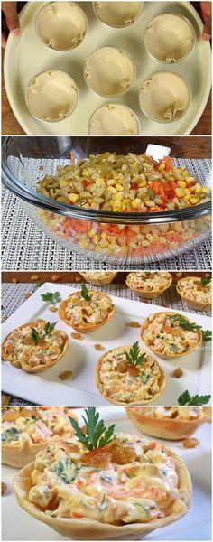 Cestinha de Tender com Cream Cheese em 5 minutos Antipasto, Portuguese Recipes, Italian Recipes, Snack Recipes, Healthy Recipes, Snacks, Salty Foods, Food Lists, Finger Foods