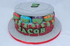 Ninja Turtle cake - Cake by Helen Campbell Ninja Turtle Birthday Cake, Ninja Turtle Party, Ninja Turtles, 5th Birthday, Tmnt Cake, Ninja Cake, Superhero Cake, Party Food And Drinks, Cake Decorating Tips