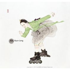 Feign : Speed of highway , Painting with Korea traditional ink, color and collage on Traditional Asian paper 85 x 90 cm, 2013 Modern Art, Contemporary Art, Traditional Ink, Traditional Clothes, Korea Design, Korean Painting, Korean Artist, Photo Illustration, Figure Painting