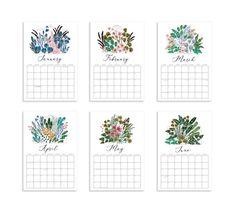 2021 Floral Wall Calendar Monthly Calendar Illustrated 12 | Etsy Paint Calendar, 12 Month Calendar, Watercolor Print, Watercolor Paintings, Floral Wall, Wall Spaces, Stationery, Illustration, Prints