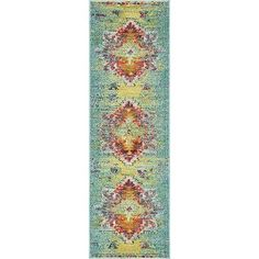 Bungalow Rose Boston Turquoise Area Rug Rug Size: Runner 2' x 6'7""
