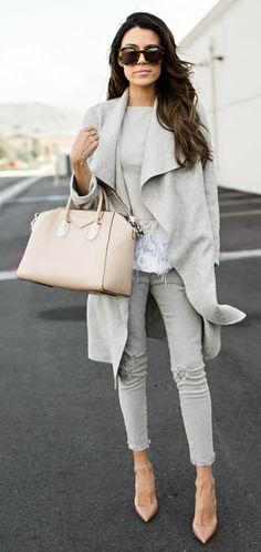 Christine Andrew + effortlessly stylish + grey on grey + wrap coat + grey skinnies + cute fringe detailed top + colour scheme is ideal + everyday neutral wear! Top/Jeans: Nordstrom.