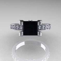Classic 10K White Gold 1.0 Carat Princess Black and by artmasters