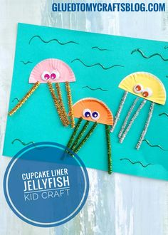 Cupcake Liner Jellyfish Kid Craft - use flattened cupcake liners and glitter pipe cleanerd