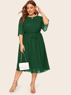 To find out about the Plus Solid Tie Waist Dress at SHEIN, part of our latest Plus Size Dresses ready to shop online today! Maxi Dress With Slit, Wrap Dress Floral, Mesh Dress, Belted Dress, Dresses With Sleeves, Women's Dresses, Plus Size Dresses, Dresses For Sale, Midi Dress Plus Size