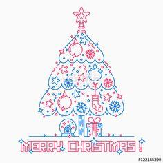 """Скачивайте роялти-фри векторное изображение """"Christmas tree line art style"""", созданое Molnia по самой низкой цене на Fotolia.com. Полистайте наш банк изображений и найдите идеальный стоковый вектор для вашего маркетингового проекта!"""