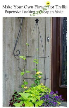 This flower pot trellis tutorial is a fun way to create elegant looking planters with the use of standard tomato cages. #flowers #gardeningtips #gardeninghacks #planter #containergardening #homedecor #outdoorliving