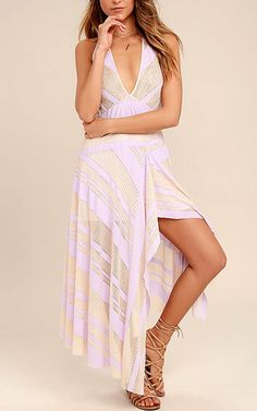 Free People Adrien Lavender Striped Midi Dress via @bestchicfashion