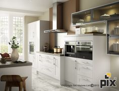White painted shaker door with stainless steel splashback create a refined heritage look