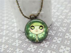 New to LittleApples on Etsy: Goth big eye girl drawing round glass brass necklace or keychain spooky fantasy (8.00 USD)