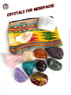 Crystals For Menopause | CrystalHealingForWomen Healing Stones, Crystal Healing, Mind Relaxation, Aging Process, Menopause, Cotton Bag, Stones And Crystals, All The Colors, Are You The One