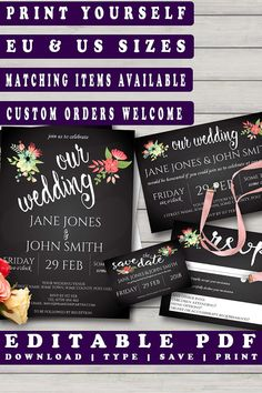 Watercolour Flowers Chalkboard Wedding Invitation Set #diywedding #weddinginvitation #printableinvitation #prandski