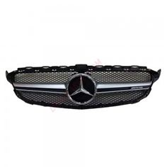 Mercedes Benz C Class W205 Amg Look Black Silver Bar Abs Style Front Grill