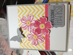 Stampin'Up Chevron background stamp and a different color scheme