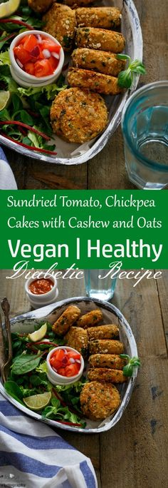 Jagruti's Cooking Odyssey: Sun dried Tomato, Chickpea Cakes with Cashew and Oats