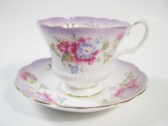 Royal Albert Tea Cup and Saucer, Purple and White tea cup and saucer set, Reflection Series Teacup Set. by BeadsbyVince on Etsy