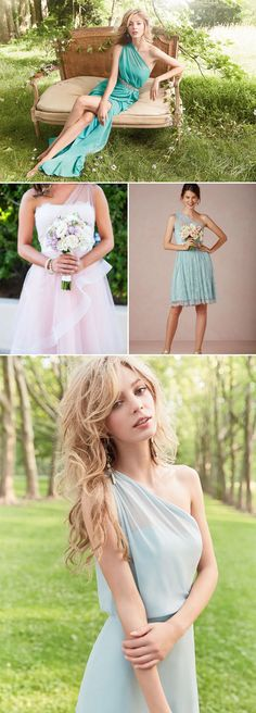 Bridesmaid Dress Trends 7 Hot Styles you will love! One Shoulder Bridesmaid Dresses, Cheap Bridesmaid Dresses, Wedding Bridesmaids, Shoulder Dress, Wedding Dress, Cute Wedding Ideas, 2015 Trends, Designer Gowns, Party Wear