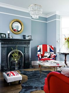 Living Rom with Union Jack upholstered arm chair and foot stool #unionjack #flag