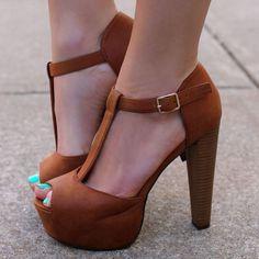 Shoespie Brown Peep Toe Platform Sandals