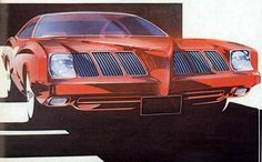 Early '70s rendering of the '73 GTO/Grand Am by Charley Gatewood.