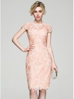 Sheath/Column Scoop Neck Knee-Length Zipper Up Sleeves Short Sleeves No 2016 Other Colors Winter Spring Summer Fall General Plus Lace Cocktail Dress Simple Dresses, Nice Dresses, Short Dresses, Formal Dresses, Mom Dress, Dress Skirt, Lace Dress, Civil Wedding Dresses, Bridal Party Dresses