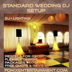 Our most popular Wedding Reception DJ Package for 2016! Pick out your Wedding colors to blend with our lights! Special Promo: like this pic and mention this post to add 2 up lights for free! Limited time only! #weddingdj #atlanta #reception #package #djpricing #topdj #events #services #fonixentertainment