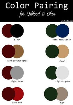 Color Crush :: Oxblood X Olive fall-color-palette-color-pairind-dark-red-merlot-oxblood-burgundy-olive Burgundy Outfit, Burgundy Nails, Burgundy Color, Oxblood Nails, Maroon Pants Outfit, Olive Green Outfit, Color Black, Green Hair, Color Combinations For Clothes