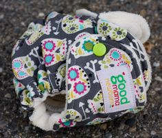 Las Calaveras Newborn Fitted Diaper (Turned, Woven, Organic Bamboo Velour)
