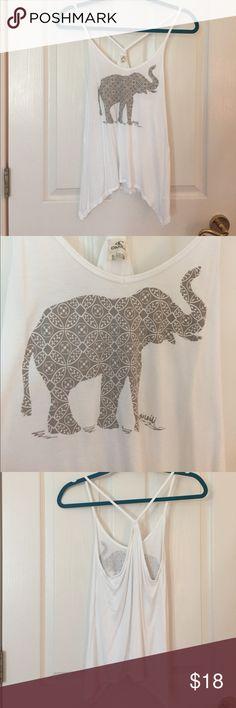 O'Neill elephant tank Cute white tank with boho elephant print O'Neill Tops Tank Tops