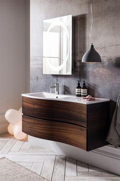 Svelte adds a designer look to any bathroom scheme - Svelte 120 Unit & Basin in American Walnut from Bauhaus. http://www.bauhaus-bathrooms.co.uk/product/vanity-units-medium-wood-tones/svelte-120-unit-and-basin-american-walnut/
