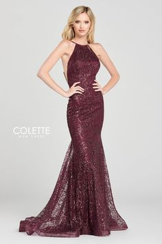Colette for Mon Cheri CL12074. Sleeveless cracked ice fit and flare gown with a high neck, natural waist, criss cross back, horsehair hem and a sweep train.