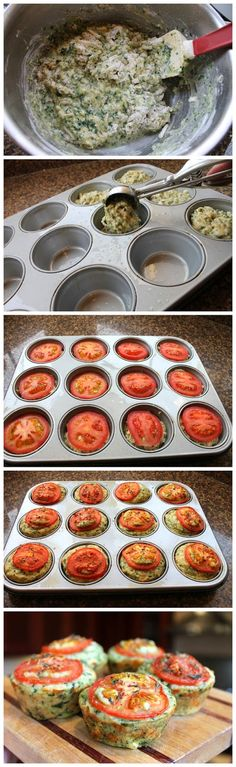 Cheesy Spinach Muffins -- Tthough I think I'd rather dice up the tomatos rather than have it all on top :)