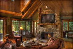 The big tv front and center would make this my hubby's kind of rustic living room ...