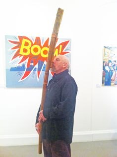 Tony Morris playing Fujara at Private View of Tim Knight's Exhibition about the 1914 Bombardment of Scarborough, 'Out of the Fog' at Woodend Gallery, Scarborough, November Knight, November, Play, Gallery, Pictures, November Born, Photos, Roof Rack, Cavalier