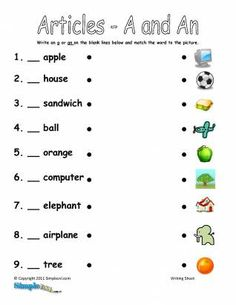 Articles A and An ESL Worksheet – Printable English Fill in the Blanks Activity English Grammar For Kids, Learning English For Kids, Teaching English Grammar, English Lessons For Kids, English Vocabulary Words, Grammar Lessons, English Language Learning, English Writing, English Worksheets For Kindergarten