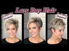 Lazy Day Hair Tutorial - No Finishing Products or Flatiron Lazy Day Hairstyles, Short Hairstyles For Thick Hair, Short Hair With Layers, Curly Hair Styles, Cool Hairstyles, Edgy Pixie Hairstyles, Funky Short Hair, Short Pixie, Wedding Hairstyles