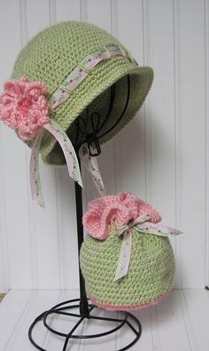 Little girl's Gibson Hat and Draw-string Purse  #crochet