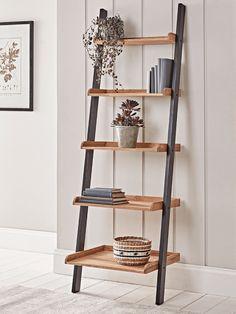 Leaning Oak Ladder Shelf Living Room Interior, Interior Design Living Room, Living Room Decor, Loft Furniture, Living Furniture, Furniture Storage, Wooden Ladder Shelf, Leaning Ladder Shelf, Bathroom Ladder Shelf
