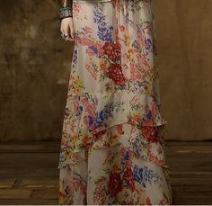 ralph lauren denim and supply floral maxi skirt - like the peplum effect instead of gathered tiers
