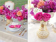 Wedding table ideas in gold & pink | decorazioni in oro e fuchsia per il ricevimento