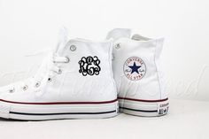 #Monogram #Converse High tops you choose the color high tops and the color of the text. Awesome vine, curly, infinity font. Great to add a little flair to you outfit.