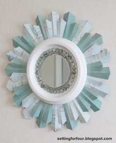 Setting for Four: DIY Beaded Sunburst Mirror Tutorial (uses scrapbook paper)