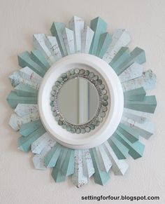 Setting for Four: DIY Beaded Sunburst Mirror -> LOVE this!! And its made from scrapbook paper!