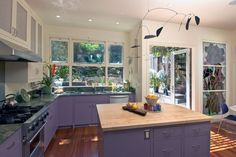 Purple kitchen cabinets in an eclectic kitchen by Jeff King & Company Purple Kitchen Cabinets, Kitchen Cabinets Color Combination, Kitchen Cabinet Colors, Painting Kitchen Cabinets, Kitchen Colors, Bath Cabinets, Kitchen Layout, Kitchen Sink, Kitchens