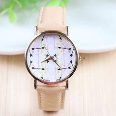 Multi-color Arrow Face Geneva Ladies Quartz Watch (Pink)