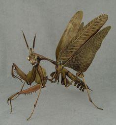 Mantis Jizai Okimono by Geoffrey Haberman http://kamiizumi.tumblr.com/post/67405221390/mucholderthen-mantises-in-metal-hand-fabricated