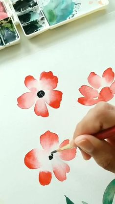 Watercolor Flowers Tutorial, Watercolor Poppies, Abstract Watercolor Art, Watercolor Sketchbook, Watercolor Cards, Watercolor Paintings For Beginners, Watercolor Art Lessons, Happy Paintings, Team Member